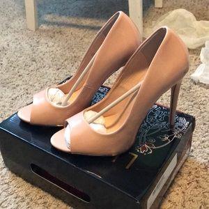 Nude peak toe heels